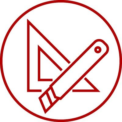 Icon showing set square or drafting triangle and box cutter knife, packaging, adjusting, adjustment, made-to-measure, bespoke