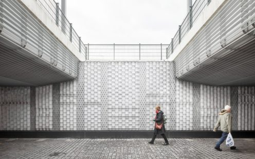Augmented Brickwork - Public Railway Passage with glass bricks, Brick Award Nominee 2018; Civic Architects and Bright (The Cloud Collective), Photo:  Stijn Bollaert